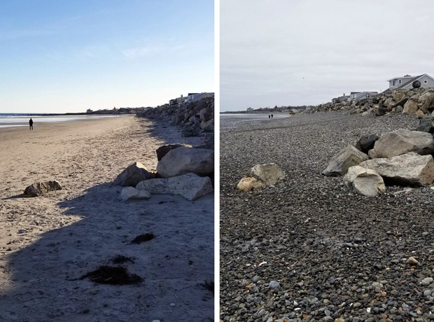 Before and after photo of Jenness Beach, NH, following winter storms in March 2018